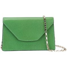 Valextra Mini Iside Chain Crossbody Bag ($993) ❤ liked on Polyvore featuring bags, handbags, shoulder bags, green, genuine leather handbags, leather cross body purse, crossbody handbag, green leather purse and leather purses