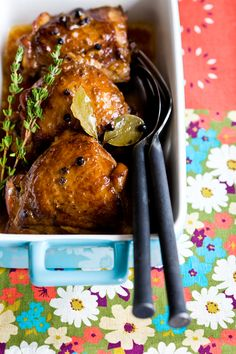 filipino chicken adobo. I would use a full head of garlic and 2 less bay leaves but this dish is delicious and very easy to make.