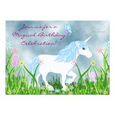 Shop Pretty Pink and White Unicorn Magical Birthday Invitation created by TheCutieCollection. Personalize it with photos & text or purchase as is! Butterfly Birthday Party, Unicorn Themed Birthday, Unicorn Birthday Invitations, Flower Birthday, Horse Birthday, Card Birthday, Birthday Diy, Birthday Gifts, Purple Unicorn