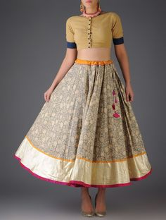 Beige - Grey Floral Handblock Printed Cotton Skirt - Free Size Online at Jaypore.com
