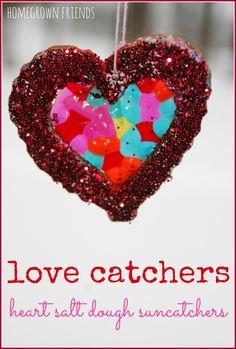 Heart Salt Dough Suncatchers AKA Love Catchers are such a cute Valentine's Day decoration!