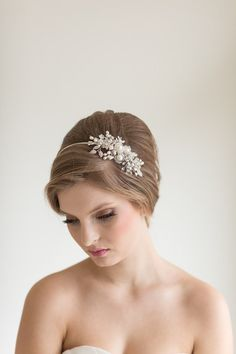 Cristal perla diadema tocados de novia perla por PowderBlueBijoux