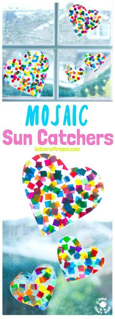 HEART SUNCATCHER MOSAICS for kids look gorgeous! Window art that\'s pretty, colourful and easily adaptable for kids of all ages. Fun for Valentine\'s Day, Mother\'s Day and Summer. #valentine #valentinesday #valentinesdaycraft #heartcrafts #mothersdaycrafts #kidscrafts #suncatcher #suncatchercrafts #kidsactivities #craftsforkids #summer #summercrafts #preschoolcrafts #craftideasforkids #valentinecraft #valentinescrafts #valentinecrafts #valentinesdayforkids #kidssummercrafts
