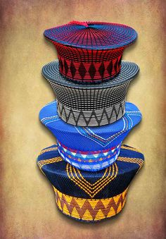 "Zulu hats or ""isicholos"" handmade in South Africa. African Wedding Attire, African Attire, African Fashion Dresses, African Weddings, African Head Scarf, African Hats, African Accessories, African Jewelry, Pedi Traditional Attire"