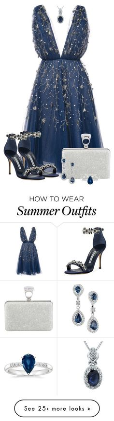 """Summer Outfit 7"" by larycao on Polyvore featuring Oscar de la Renta, Manolo Blahnik and Tom Ford"