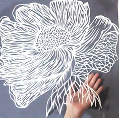 Art Paper Cutting Lady White Poppy Large Papercut by ArtHeartsShop
