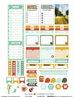 Free Fall Road Planner Stickers [page one] | Vintage Glam Studio
