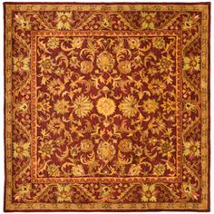 @Overstock - An ancient pot-dying technique and dense, thick pile highlight this hand-spun Mahal rug. This area rug has a wine background and a gold border and displays stunning panel colors of green, rose, gold and ivory.http://www.overstock.com/Home-Garden/Handmade-Exquisite-Wine-Gold-Wool-Rug-8-Square/5407821/product.html?CID=214117 $314.99