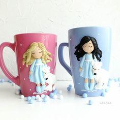 Dětské hrníčky na kakao * růžoví a modrý porcelán s postavičkami děvčátek z polymeru.
