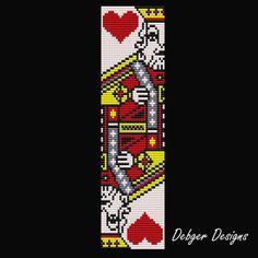 Bead Pattern LoomBracelet CuffKing of Hearts por LoomTomb en Etsy Loom Bracelet Patterns, Beaded Earrings Patterns, Beading Patterns Free, Bead Loom Bracelets, Bead Loom Patterns, Jewelry Patterns, Seed Bead Flowers, Seed Beads, Beaded Hat Bands