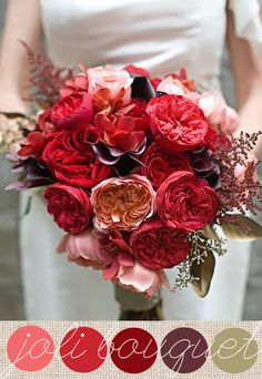 Bouquet tons rouges