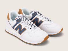 4e227f45f36 New Balance WL574SYE Sneakers bi-matières écru et marine