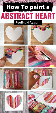 Heart Painting on Canvas with acrylics - 3 ways! Easy DIY Tutorial for Kids & Ad. Heart Painting on Canvas with acrylics – 3 ways! Easy DIY Tutorial for Kids & Adults, toddlers, t Easy Crafts For Teens, Arts And Crafts For Adults, Art Projects For Adults, Fun Diy Crafts, Diy Art Projects, Diy Arts And Crafts, Diy For Teens, Easy Crafts To Make, Crafts For Seniors