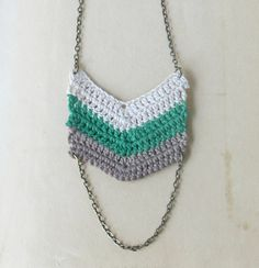 Chevron Crocheted Necklace