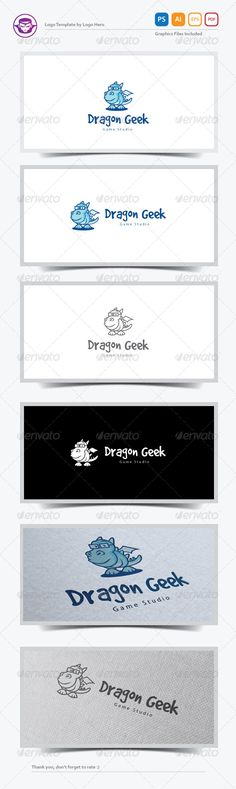 Dragon Geek Logo Template — Photoshop PSD #cartoon #brand • Available here → https://graphicriver.net/item/dragon-geek-logo-template/7639925?ref=pxcr