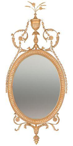 George III Hepplewhite Oval Mirror Custom Mirrors, Decorative Mirrors, Beautiful Mirrors, Oval Mirror, Vintage Frames, Furniture Styles, Luxury Living, Picture Frames, Interior Decorating