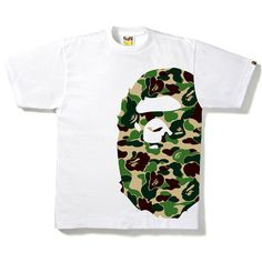 ABC CAMO SIDE BIG APE HEAD TEE ❤ liked on Polyvore featuring tops, t-shirts, camouflage tee, white cotton tops, white camo t shirts, cotton t shirt and white top