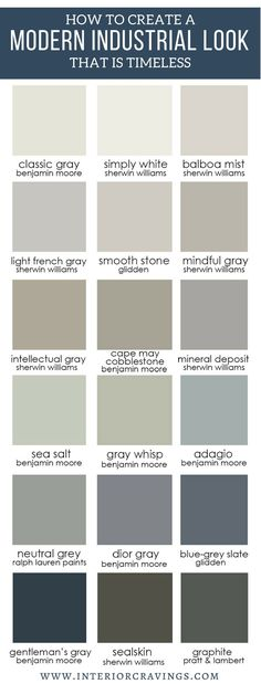 INTERIOR CRAVINGS MODERN INDUSTRIAL NEUTRAL PAINT COLOR PALETTE