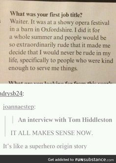 The reason why Tom Hiddleston is so kind