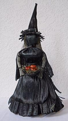 corn husk dolls | Dark Kitchen Witch Corn Husk Art Doll with Bowl by LacyLeafStudio, $50 ...