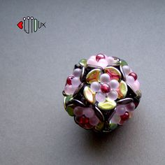 beaded bead by Iva Jar. (Bijioux), rose petals, pressed drops, czech pressed beads, fire polished beads inside :)