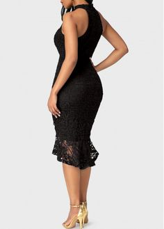 Sleeveless Frill Hem Black Sheath Dress | Rosewe.com - USD $42.51