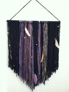 Handmade bohemian yarn wall hanging from etsy shop Shedocreations