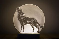 I want one! Bedside wolf lamp / LED howling wolf with full moon nightlight by SturlesiDesign Affiliate link: http://tidd.ly/a09b7638