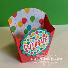 Celebrate Today with Cherry on Top DSP & Washi Tape. Using Stampin' Up! products from the NEW 2015-2016 Annual Catalogue. Created by Carolina Evans. Birthday Card, Hamburger Box & Fry Box.  #stampinup