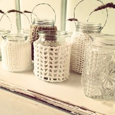 crochet decorated hanging tea light holders from http://littletedcanvas.blogspot.com.au/