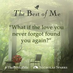 What would happen if the love you never forgot found you again? Well find out when Nicholas Sparks newest movie the best of me hits theaters this fall