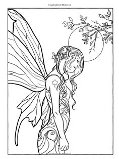 Coloring Book Fairy Fashion Page Paint or Crayon Fantasy Creative Art Kid -Sheet Angel Coloring Pages, Coloring Pages For Grown Ups, Adult Coloring Book Pages, Colouring Pages, Coloring Books, Fairy Art, Book Fairy, Creative Art, Stress
