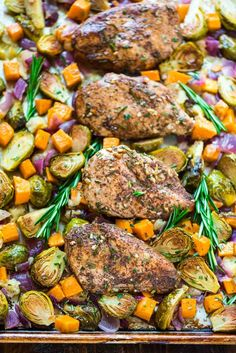 Sheet Pan Chicken With Sweet Potatoes, Apples & Brussels Sprouts Recipe