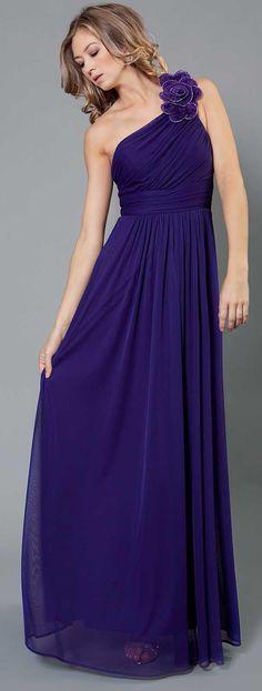 One side shoulder amazing blue dress.
