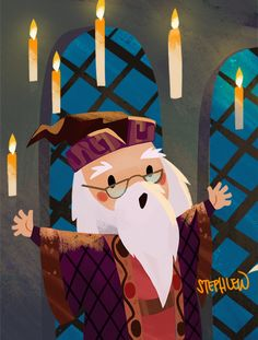 Albus Dumbledore by Steph Lew, Harry Potter Art Harry Potter Tumblr, Fanart Harry Potter, Harry Potter World, Tshirt Harry Potter, Wallpaper Harry Potter, Arte Do Harry Potter, Harry Potter Painting, Harry Potter Cartoon, Harry Potter Drawings