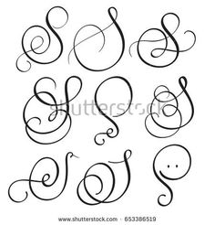 set of art calligraphy letter S with flourish of vintage decorative whorls. Vector illustration EPS10