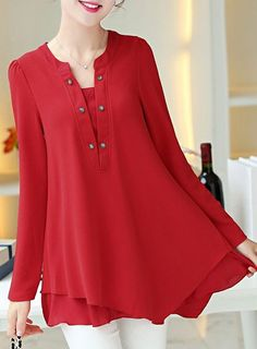 Ladylike Round Collar Long Sleeve Red Blouse For Women