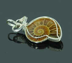 Fossil Ammonite Ocean Jewelry, Seashell Jewelry, Glass Jewelry, Metal Jewelry, Beaded Jewelry, Jewlery, Wire Pendant, Wire Wrapped Necklace, Wire Weaving