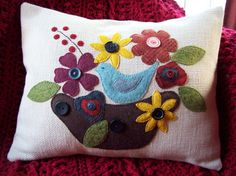Bird in Blooms on Cream Upholstery Fabric Pillow Slipcover. $32.00, via Etsy.