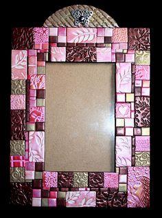 Polymer clay handmade mosaic foto frame by Timea Marics Sculpey Clay, Polymer Clay Canes, Polymer Clay Jewelry, Clay Art Projects, Polymer Clay Projects, Clay Crafts, Mosaic Crafts, Mosaic Art, Foto Frame