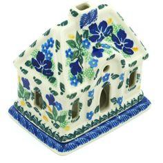 Polish Pottery 5-inch House Shaped Candle Holder   Boleslawiec Stoneware   Polmedia H9535G   Polmedia