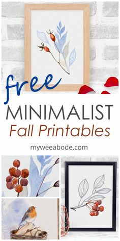 Add these free watercolor printables to your fall decor. These minimalist art prints are free and look great for a more simple look in your autumn decor. #myweeabode #freeprintables #falldecor #autumndecor