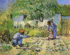 One of my favorites. Vincent van Gogh. First Steps--after Millet. Saint-Rémy: Jan 1890