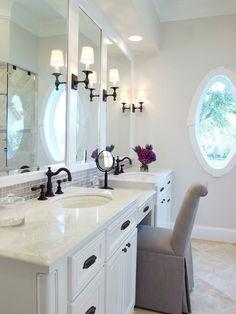 : Charming Houston Lakeside Retreat Bathroom Traditional Bathroom Design Interior Decorated With Small White Bathroom Vanity Furniture Ideas Minimalist Bathroom, Modern Bathroom, White Bathroom, Modern Minimalist, Narrow Bathroom, Hotel Bathroom Design, Hotel Bathrooms, Master Bathrooms, Bathroom Shop