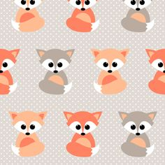 Baby foxes fabric by heleenvanbuul on Spoonflower - custom fabric                                                                                                                                                                                 More