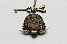 Uhren Steampunk Kette mit Flügeln und Schlüssel ♥