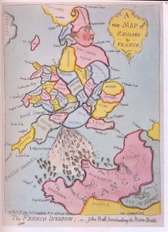 1793 sartical cartoon map of England and France - John Bull Bombarding the Bum-Boats by James Gillray - I Think Map, James Gillray, Apple Maps, World History Lessons, Map Globe, Old Cartoons, Map Design, City Maps, Illustrations
