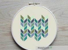modern cross stitch pattern geometric chevron PDF by Happinesst