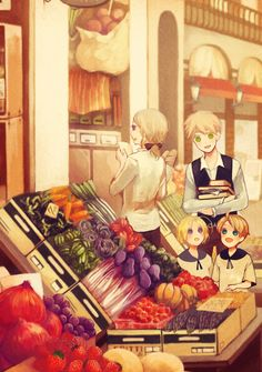 Shopping for the food Arthur can't cook - Art by 明治めとろ on Pixiv, found via Zerochan - REPINNED TO SHOW A LARGER VERSION.