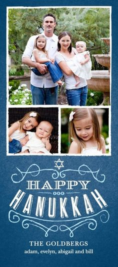 Hanukkah photo card in stormy blue collage.